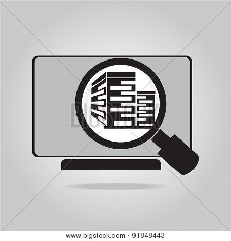 Building Icon On Computer, Vector Illustration