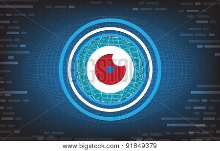 Vector Abstract Eyeball Future Technology Background With Red Eye In The Middle,security Concept Bac