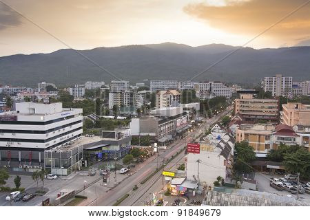 Top View Of Chiangmai City Scenery