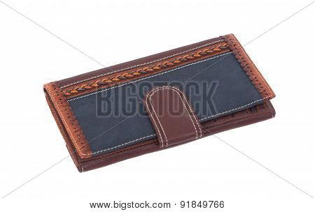 Old Blue Wallet Isolated On White