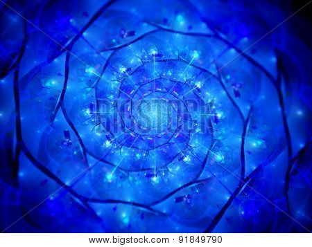 Blue Glowing Spiral Technology In Cyberspace Fractal
