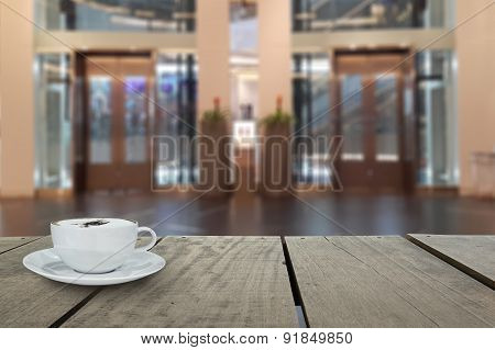 Defocus With Terrace Wood And Cappuccino Coffee With Elevators I