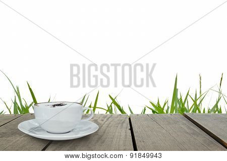 Terrace Wood And Cappuccino Coffee With Isolate White Background