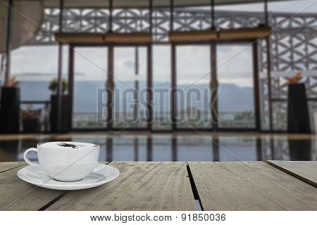 Defocus With Terrace Wood And Cappuccino Coffee With Entrance Ha