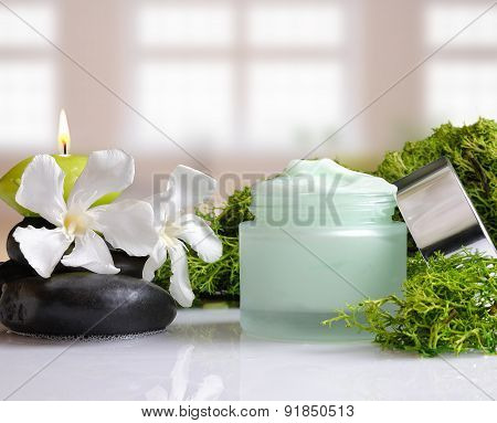 Cream Jar Algae Front View With Windows Background