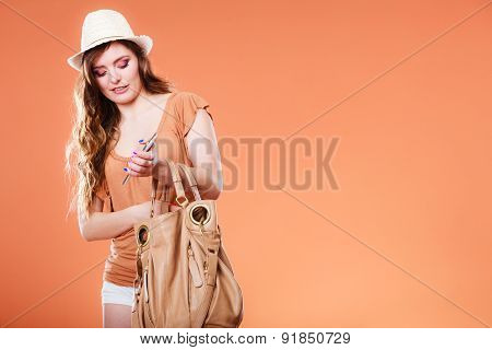 Summer Woman Holds Mobile Phone.