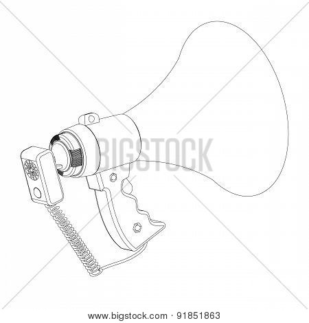 Electric Loud-hailer With A Microphone On A White Background