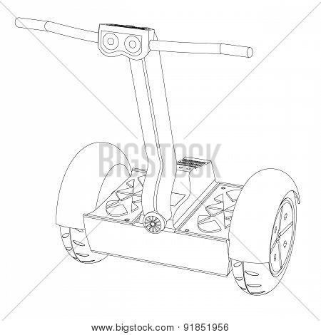 Two- wheeled vehicle On A White Background A Contour
