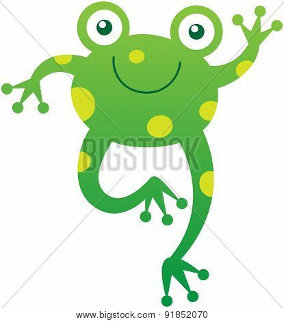 Cute friendly frog waving animatedly