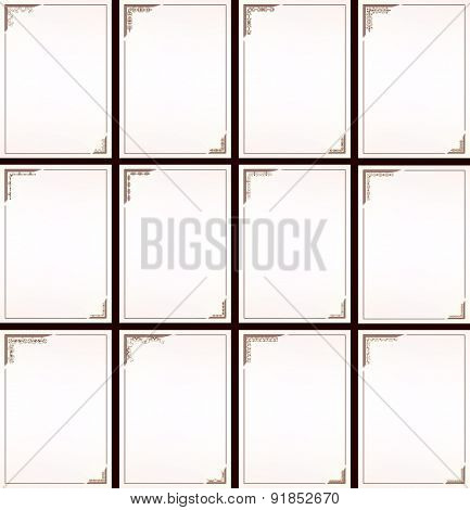 Vector vintage border frame set