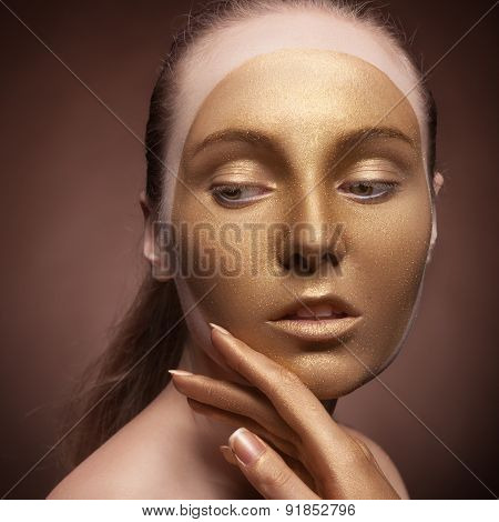Girl With Gold Fashion Make Up
