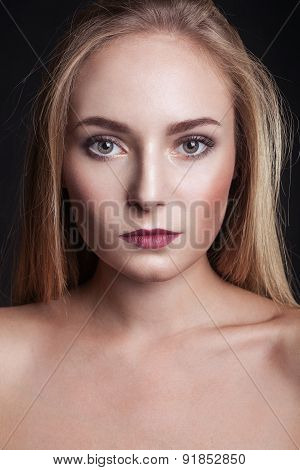 Portrait Of A Beautiful Girl With Professional Make Up