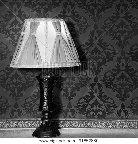 Vintage Lamp In Old Interior From Rococo Period