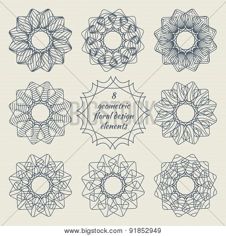 Collection Of Geometric Floral Design Elements