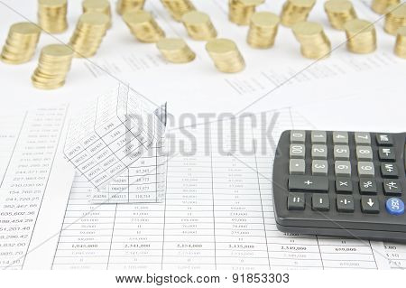 Bankruptcy Of House Have Pile Of Gold Coins As Background