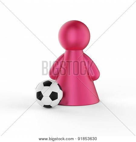 Abstract Concept With Figure Of Woman With Soccer Ball. 3D Render.