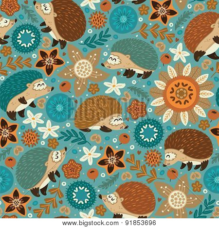 Seamless pattern with hedgehogs and floral elements