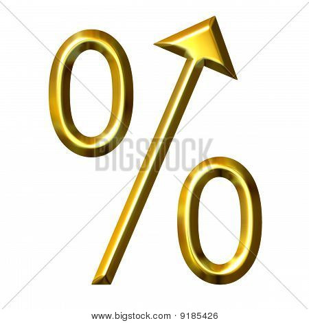3D Golden Percent Symbol With Integrated Arrow Directed Up