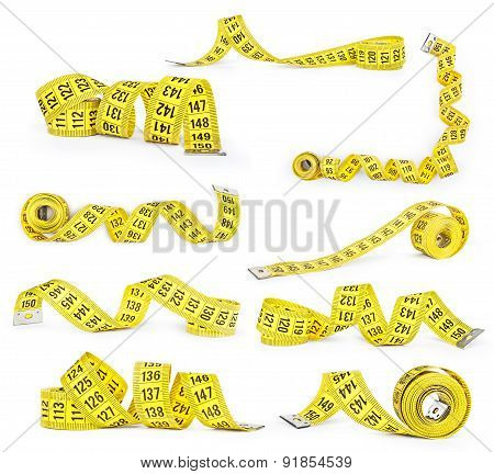 Set Of Measuring Tapes Isolated On White Background