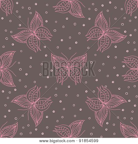 Lineart Pattern With Butterflies
