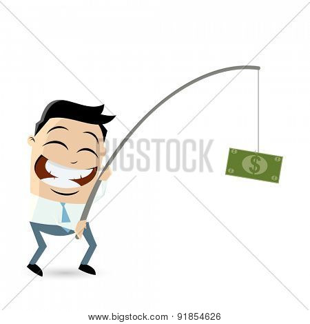 businessman with money on fishing rod