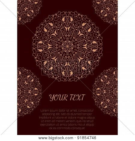 Vintage Poster With Oriental Round Ornaments And Place For Text