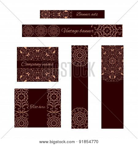 Collection Of Banners Ads Templates With Round Oriental Ornaments