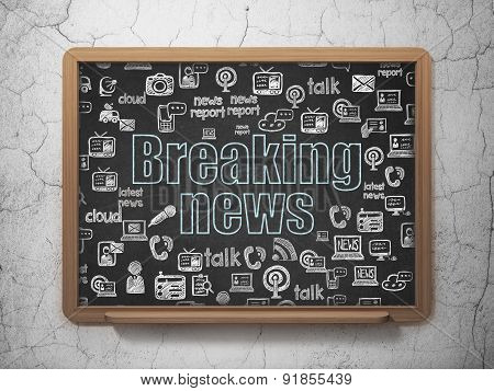 News concept: Breaking News on School Board background