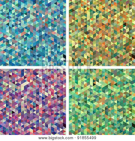 Set of Seamless Triangle Abstract Backgrounds