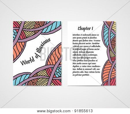 Design of boock cover whit doodle abstract pattern.