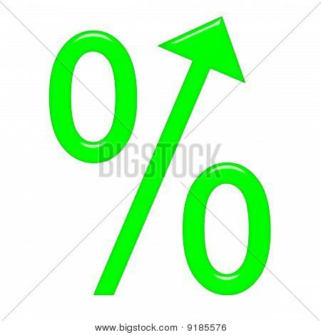 3D Percent Symbol With Arrow Directed Up