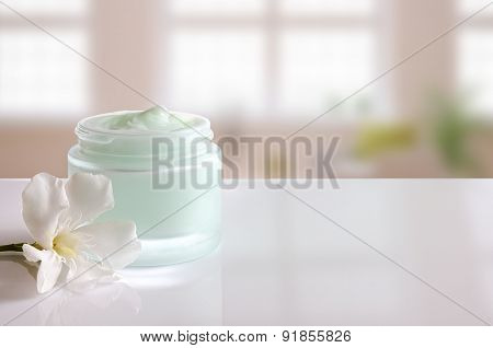 Cream Jar Open With Flower Front View Windows Background