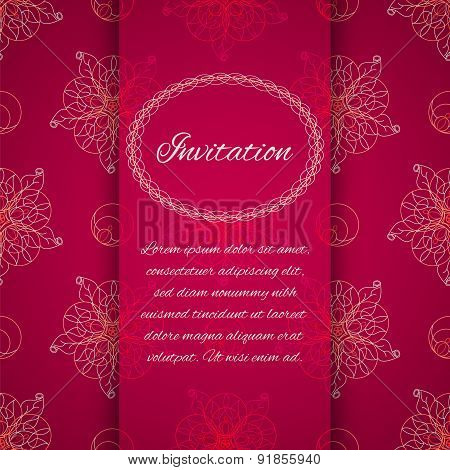 Invitation Card With Ornamental Geometric Floral Pattern