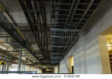 Cable Trays And Pipes In Industrial Building