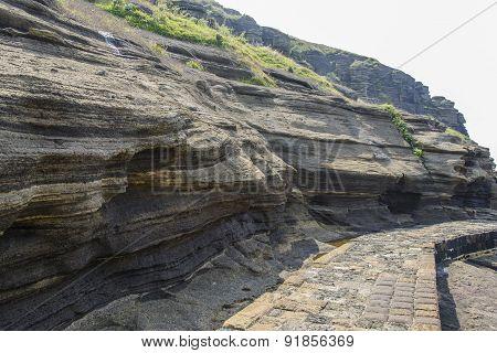 Sedimentary Rock At Yongmeori Coast In Jeju Island