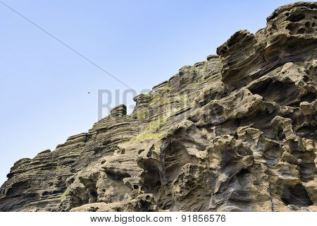 Sedimentary Rock At Yongmeori Coast In Jeju Island