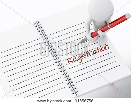 3d white people writing registration on notebook page.