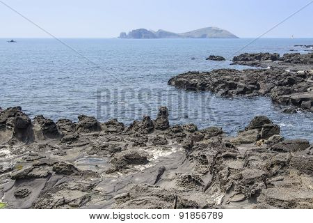 Landscape With Chagwido Island And Strange Volcanic Rocks