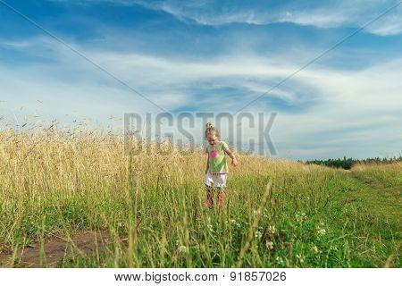 Toddler Preschooler Blonde Girl Going Down Dirt Road Among Grain Field