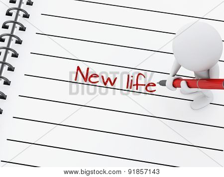 3d white people writing new life on notebook page.