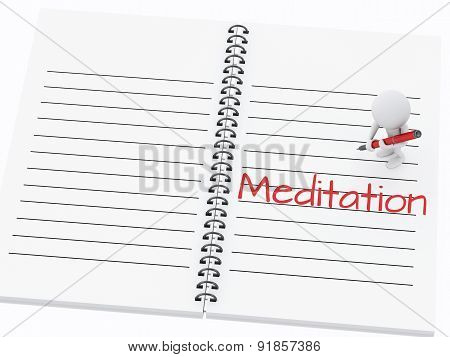 3d white people writing meditation on notebook page.