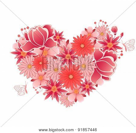 Heart Of  Pink And Red Flowers