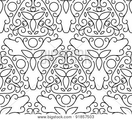 Vector Line Art Style Seamless Pattern. Abstract Floral Decorative Background In Black And White Col