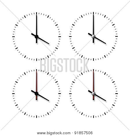 Set Of Clocks Without Numbers.