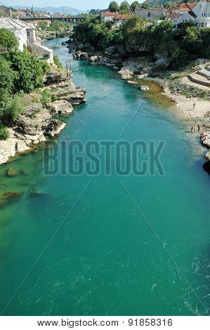 Mostar With The Famous Bridge, Bosnia And Herzegovina