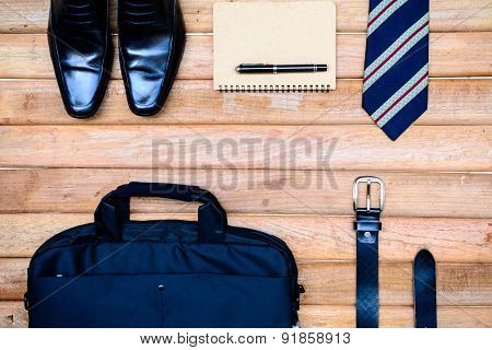Men Accessories On Old Wooden Background
