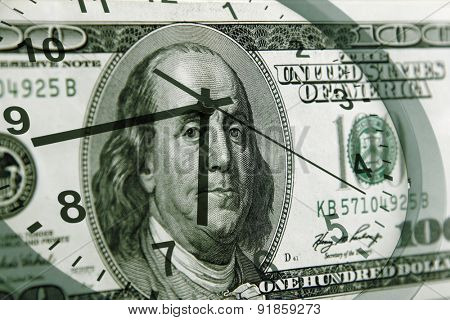 Clock and American banknote