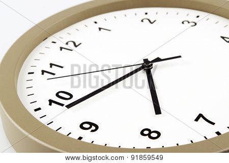 Closeup of hands on clock face