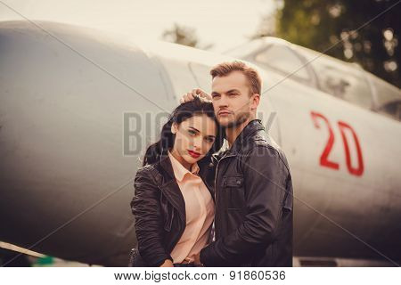 Beautiful Couple In Leather Jackets