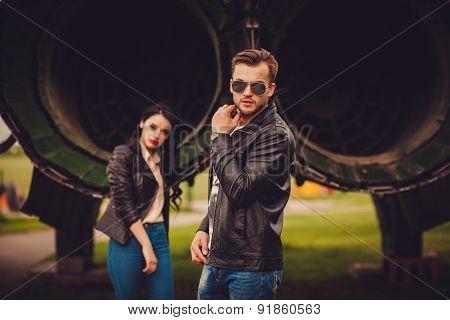 Stylish Couple Outdoors. Focus On Man